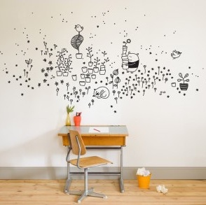 Desk with wall art.