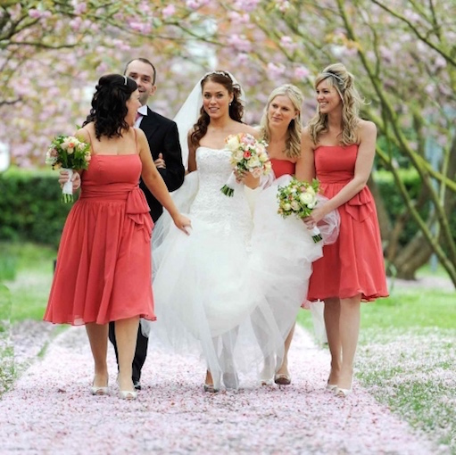 wedding party 3 bridesmaid in coral bride groom