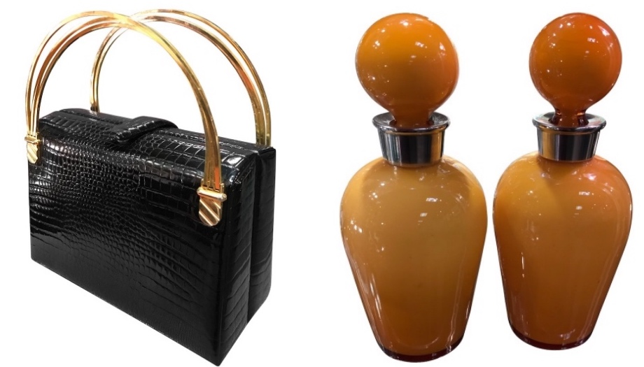 Vintage, retro gifts, scent bottle and handbag.