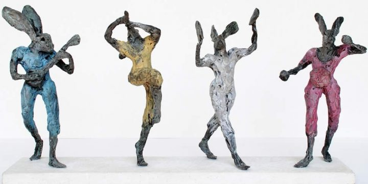 Dancing hares sculpture.