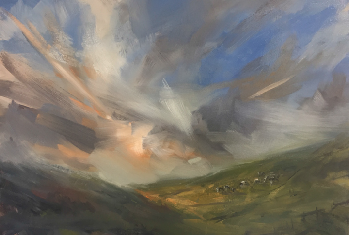 Stormy rural landscape with cows.