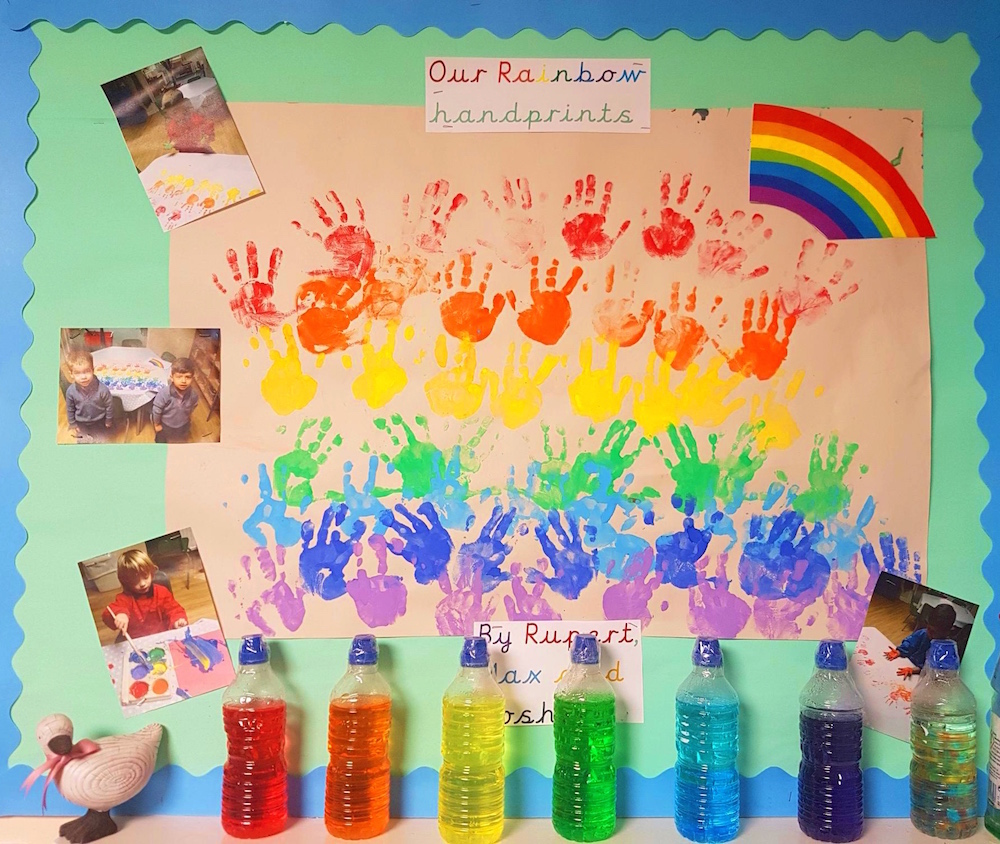 Colourful paints and children's hands.