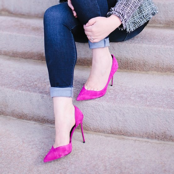 Hot pink stilettos.