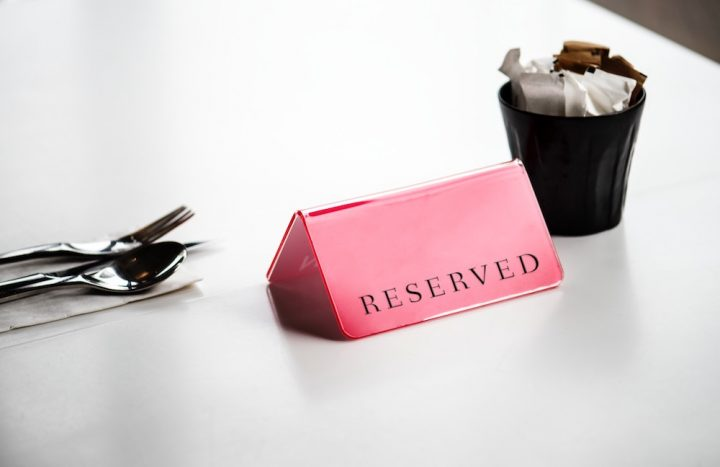 Reserved Sign Restaurant Table Exclusive