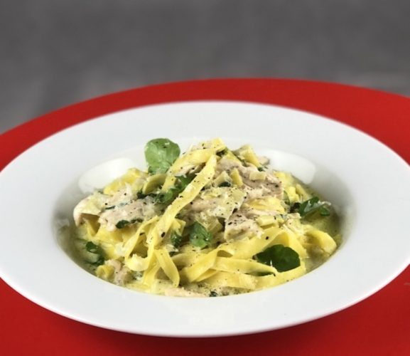 Chicken and Peashoot Pasta Floras Kitchen