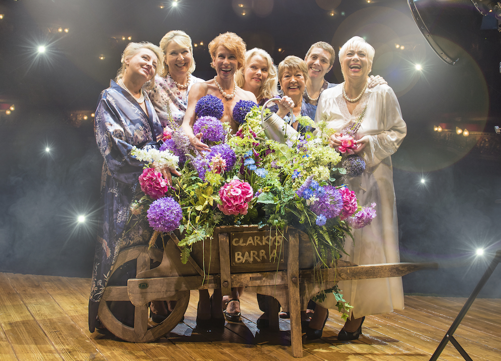 Production image2 l-r Rebecca Storm, Fern Britton, Anna-Jane Casey, Sara Crowe, Ruth Madoc, Karen Dunbar & Denise Welch in CALENDAR GIRLS THE MUSICAL landscape