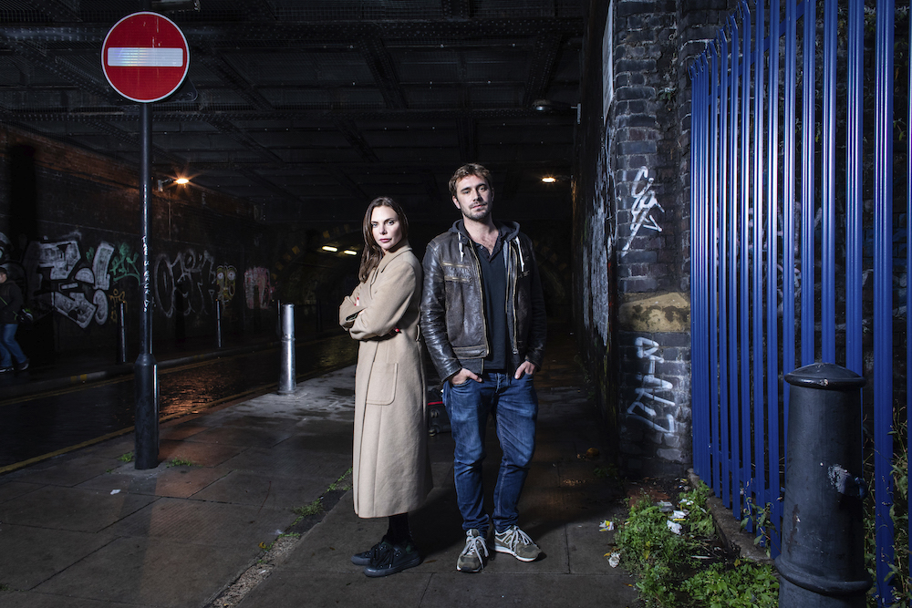 The Girl on the Train - Samantha Womack playing Rachel Watson and Oliver Farnworth playing Scott Hipwell. Photo by Helen Maybanks