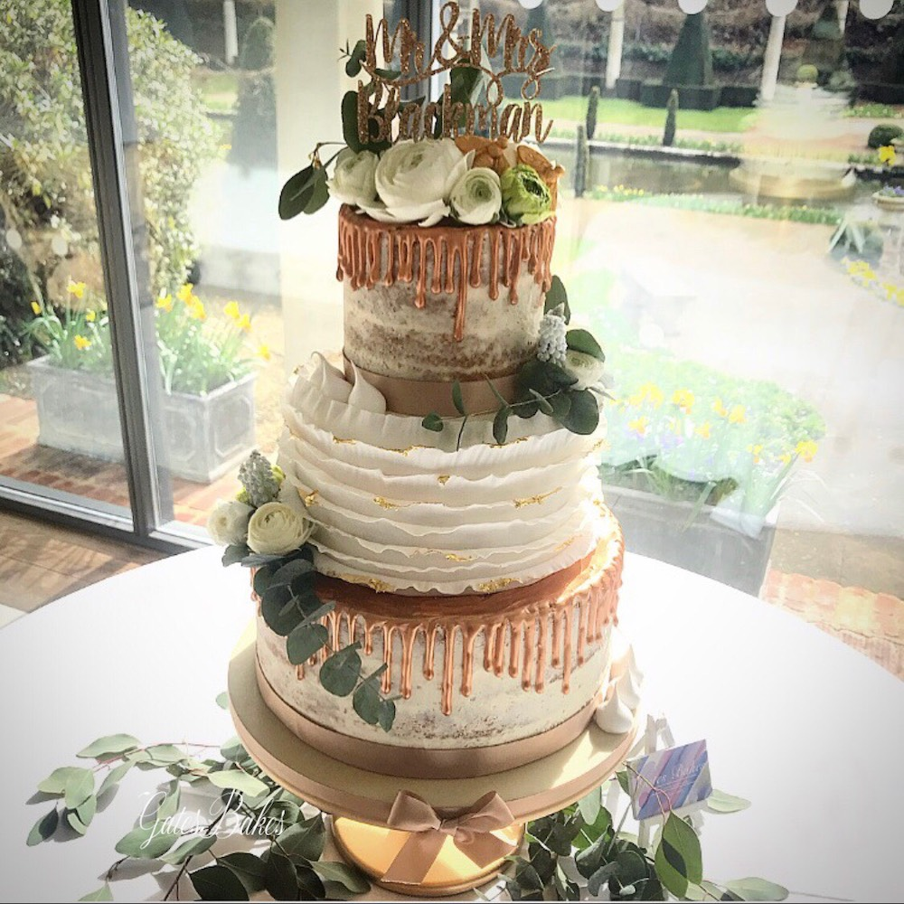 GatesBakes Caramel Drip Wedding Cake