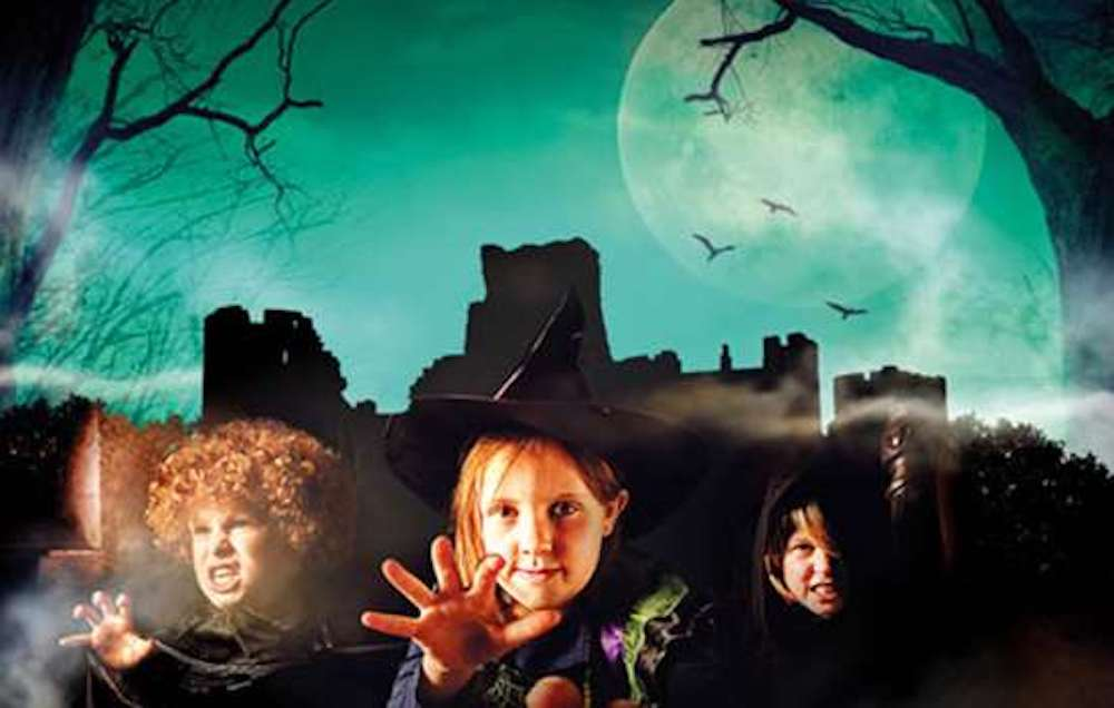 Portchester Castle Spooky Event with kids in costumes
