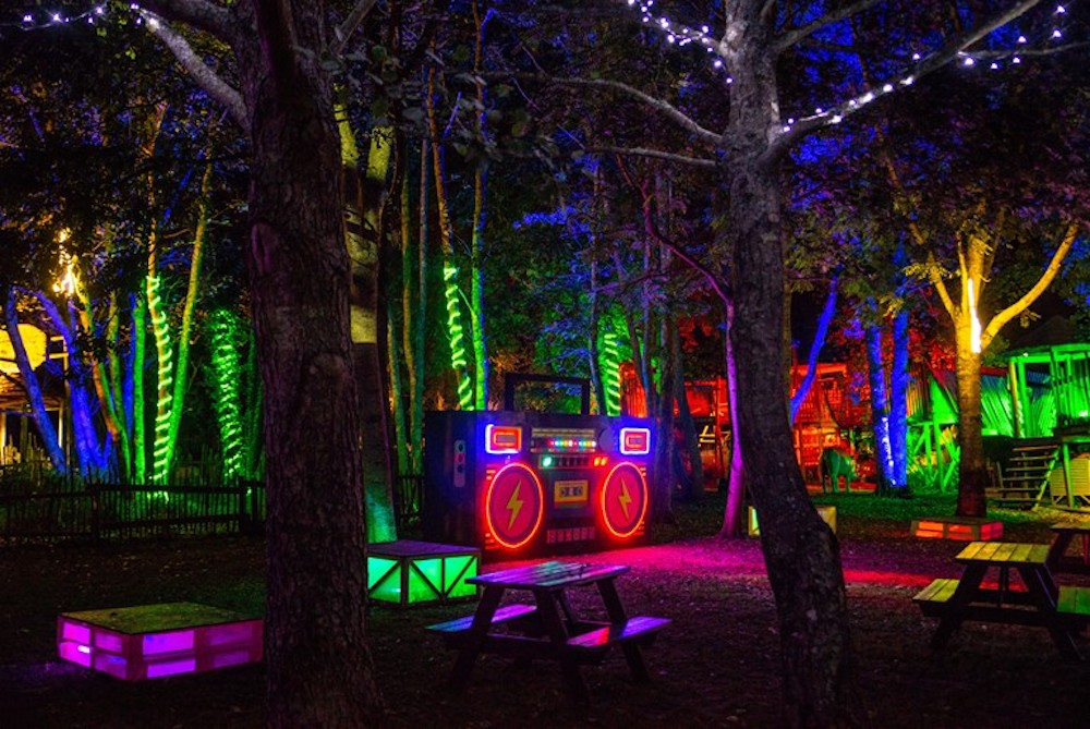 Robin Hill Festival of Lights showing a boombox lit up and neon glowing lights