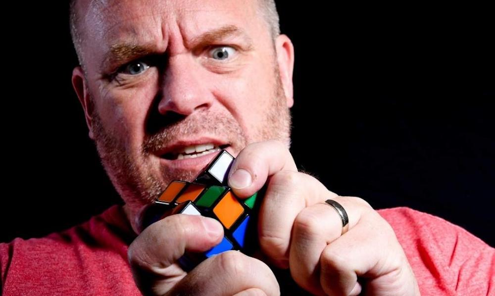 James Alderson with rubiks cube