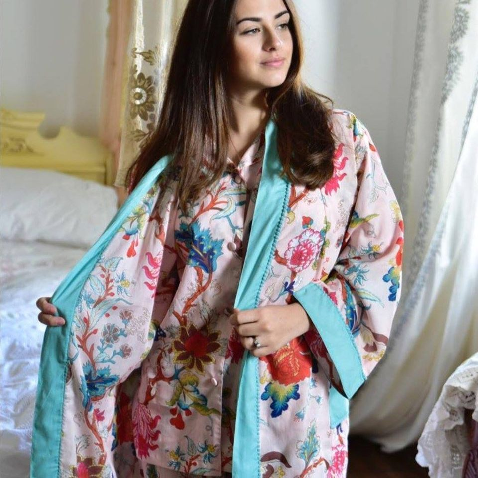 O&P Stockbridge pink floral dressing gown