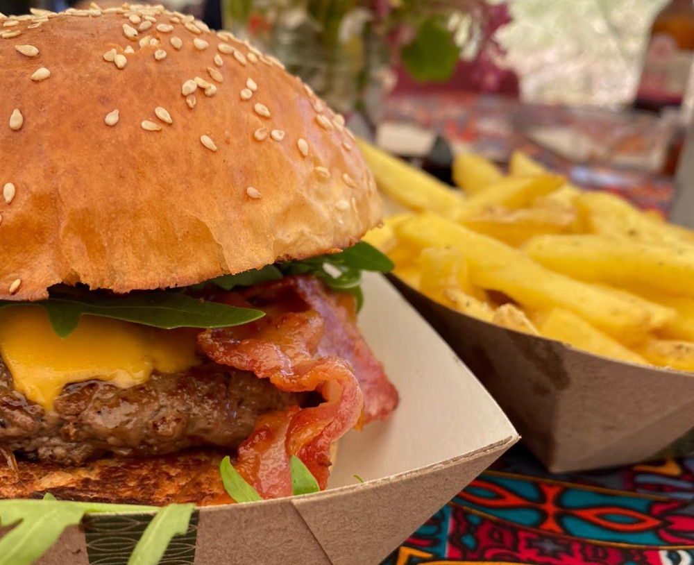 Burger and chips Newton Manor Farm Supper Club pop up restaurant What's on August Hampshire